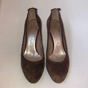 Ferragamo Shoes - Salvatore Ferragamo brown suede bow heels 9